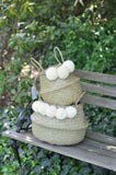 Elegant white Belly basket, blanket basket, bedroom decor, living room basket, nursery decor, kids room decor,