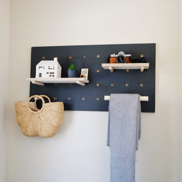 Hand painted pegboard in Carbon gray