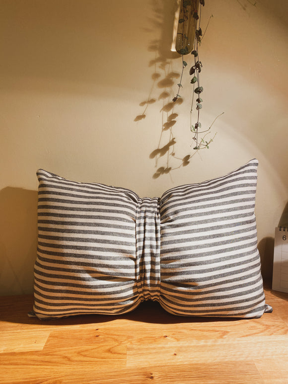 Bow Shaped Pillow in Striped Linen