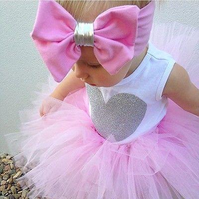 Baby Sleeveless Heart Romper + Tutu Skirt + Headband Set