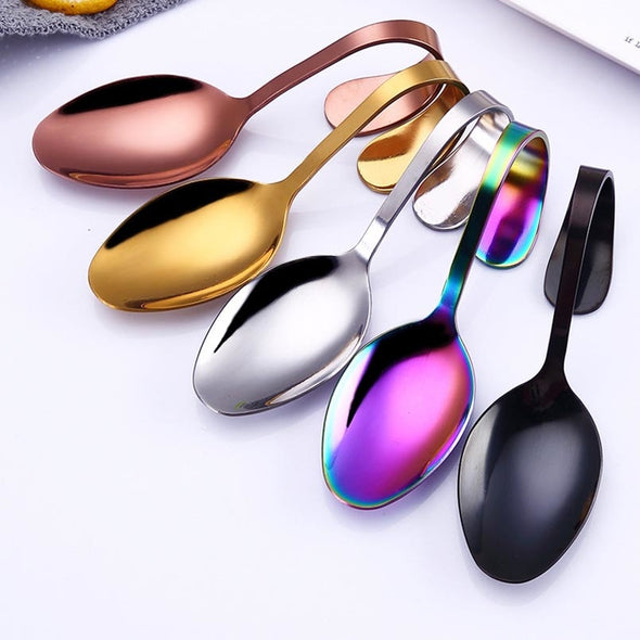 1 pc Curved Handle Spoon Stainless Steel Cutlery Serving Buffet Bun Spoon Rainbow Rose Gold Cutlery Kitchen Hotel Tool