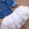 Baby Girl Denim Top +Tutu Skirt + Headband Set