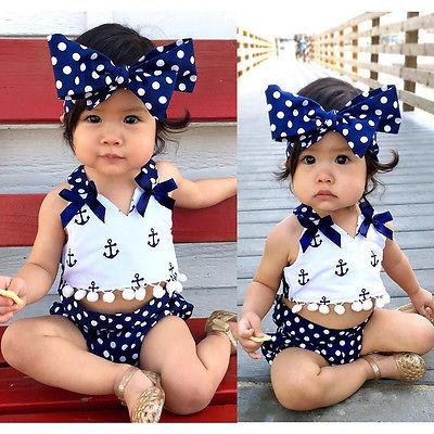 Anchor Top + Navy Polka Dots Brief + Headband Baby Set