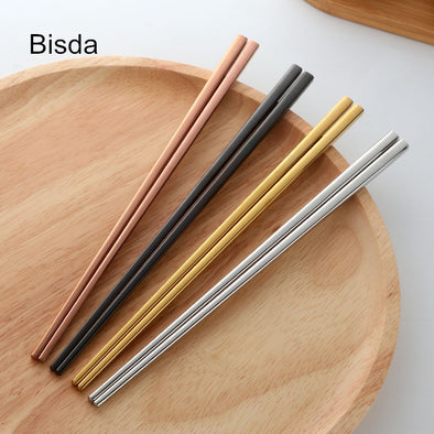 4 Colors Stainless Steel Chopsticks Set 18/10 Black Japanese Sushi Chopsticks Chopsticks Chop Stick Set Titanize Chopsitcks Gold Plated