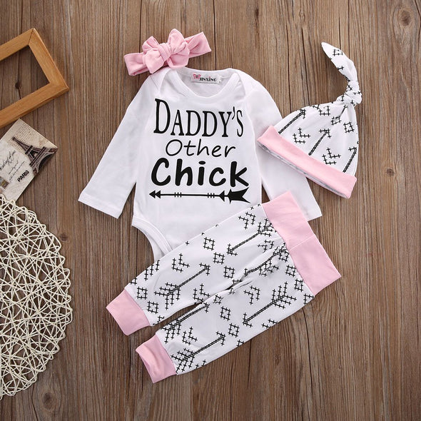 """Daddy's Other Chick"" Romper + Pants + Hat + Headband Set"