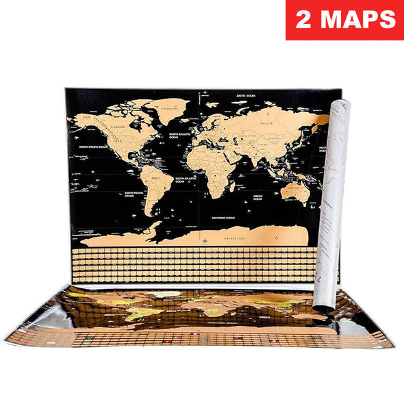 Deluxe Scratch-Off World Map (2 MAPS) - Country Flag Edition - 50% OFF!