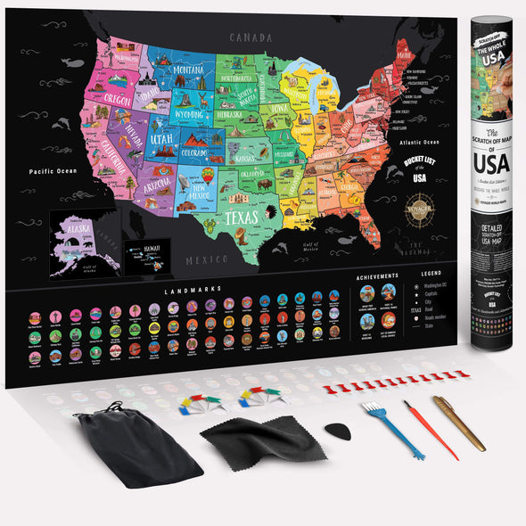 3Pack of Deluxe Scratch Off USA Bucket List Map (70% OFF)