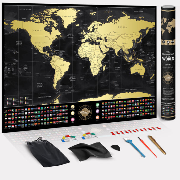 3Pack of Voyager Deluxe Scratch-Off World Map (70% OFF)