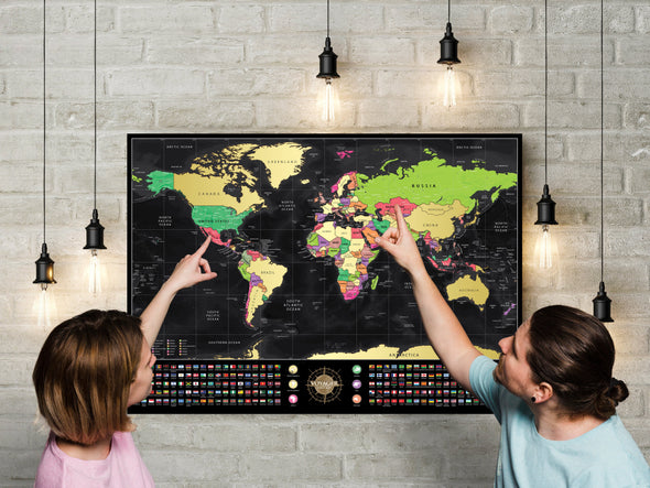 2Pack of Voyager Deluxe Scratch-Off World Map (50% OFF)