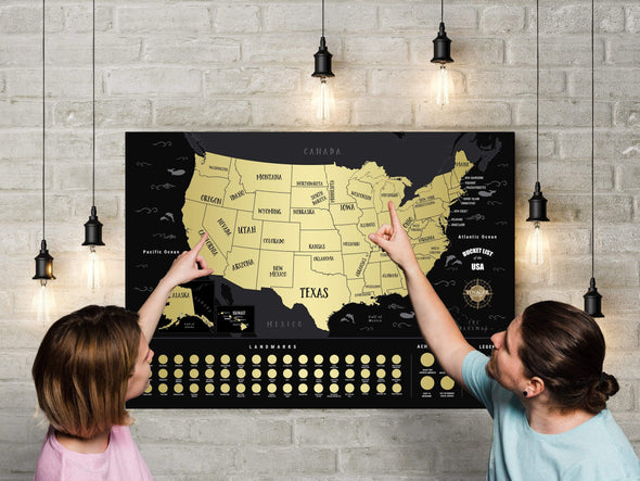 2Pack of Deluxe Scratch Off USA Bucket List Map (50% OFF)