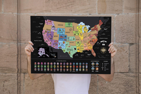 Deluxe Scratch Off USA Bucket List Map by Voyager World Maps