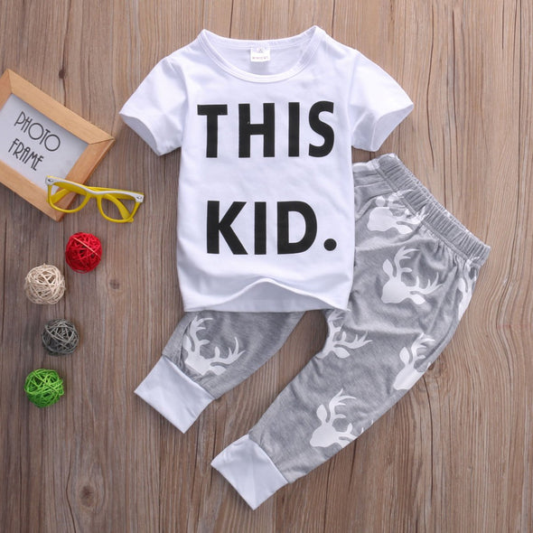 """THIS KID"" Print T-shirt Top + Deer Pants Baby Boy Set"