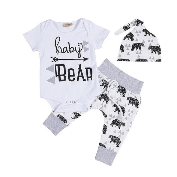 Bear Romper + Pants + Hat Baby Set