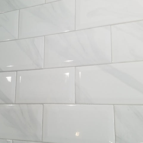 "Glossy White Marble Look Tile (4""x 8"")"