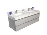 "60"" Floating Double Sink Vanity Set - Grey"