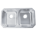 Undermount Stainless Steel 32-1/4 in. Double Bowl 50/50 Kitchen Sink