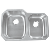 Undermount Stainless Steel 32 in. Double Bowl 60/40 Kitchen Sink