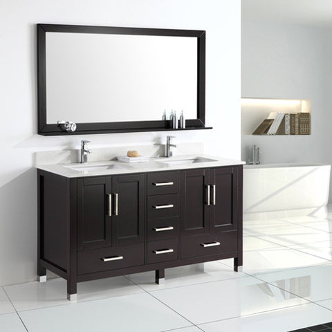 "60"" Double Sink Vanity Set - Espresso"