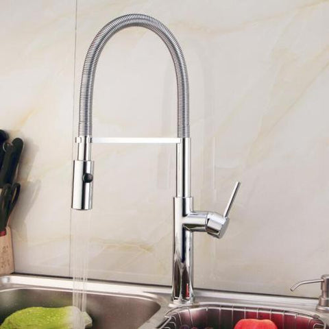 Contemporary Pull-Down Single Hole Single Handle Kitchen Faucet