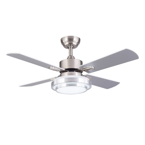 4 Blade Ceiling Fan with 18w Led Bulbs with Satin Nickel Finish and Remote