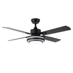 4 Blade Ceiling Fan with 18w Led Bulbs with Matte Black Finish and Remote
