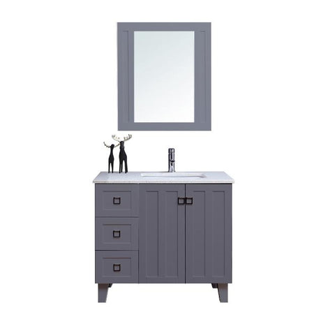 "36"" Single Sink Vanity Set with Mirror (Shaker Grey)**"