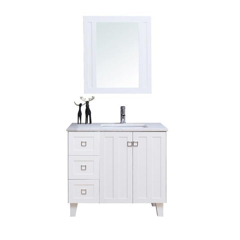 "36"" Single Sink Vanity Set with Mirror (Shaker White)**"