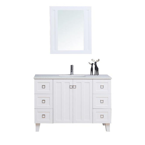 "48"" Single Sink Vanity Set with Mirror (Shaker White)"
