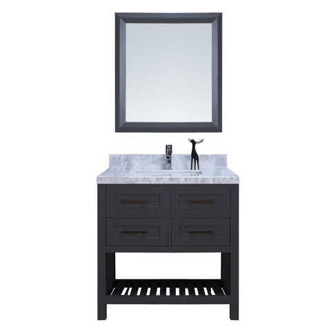 "36"" Single Sink Vanity Set w/ Towel Rack (Charcoal)"