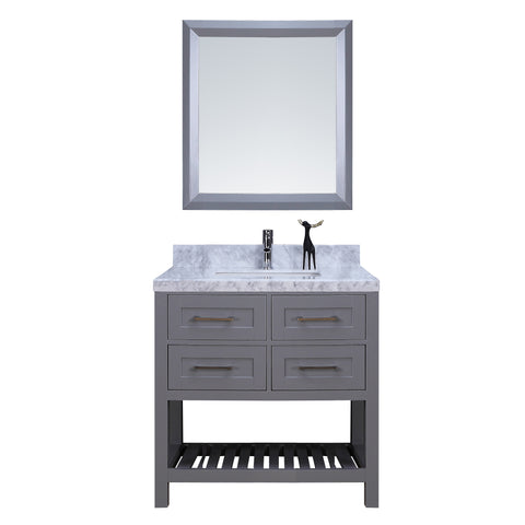 "36"" Single Sink Vanity Set w/ Towel Rack (Gray)"