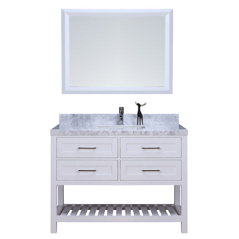 "48"" Single Sink Vanity Set w/ Towel Rack (White)"