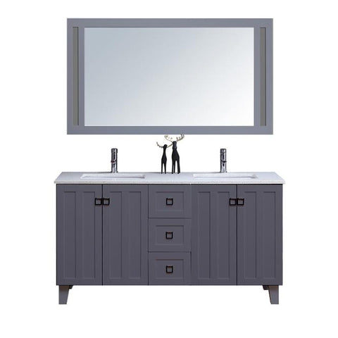 "60"" Double Sink Vanity Set with Mirror (Shaker Grey)**"
