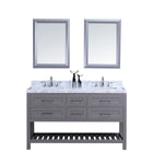 "60"" Double Sink Vanity Set w/ Towel Rack (Gray)"