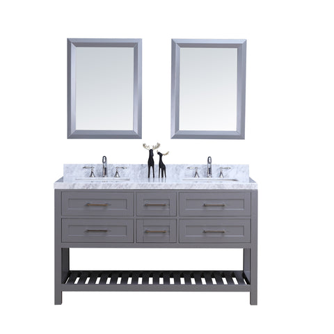 "60"" Double Sink Vanity Set w/ Towel Rack (Gray)**"