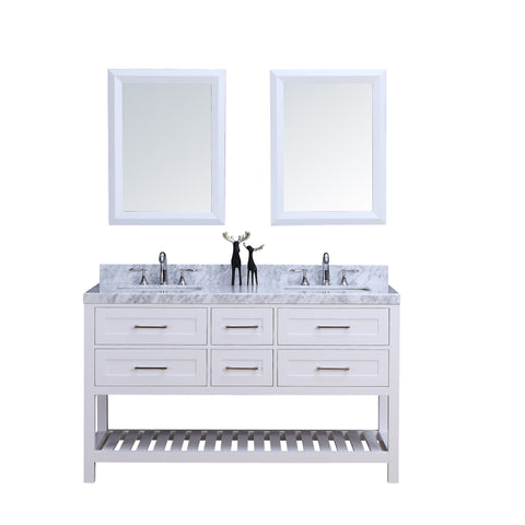 "60"" Double Sink Vanity Set w/ Towel Rack (White)**"