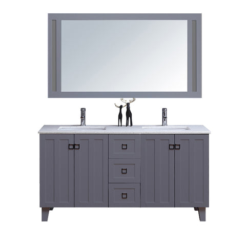 "72"" Double Sink Vanity Set with Mirror (Shaker Grey)"