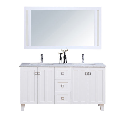 "60"" Double Sink Vanity Set with Mirror (Shaker White)**"
