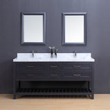 "72"" Double Sink Vanity Set w/ Towel Rack (Charcoal)**"