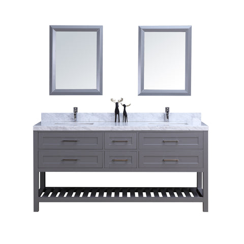"72"" Double Sink Vanity Set w/ Towel Rack (Gray)**"