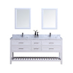 "72"" Double Sink Vanity Set w/ Towel Rack (White)**"
