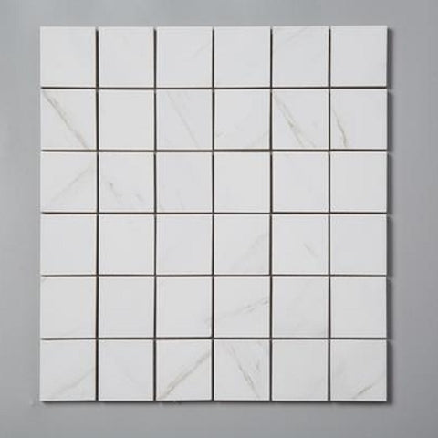 Marble Look White Square Mosaic Tile (1 Sq ft sheet)
