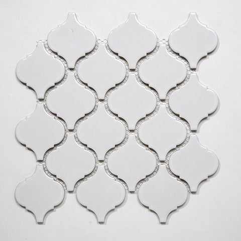 Glossy White Arabesque Mosaic Tile  (1 sq ft sheet)