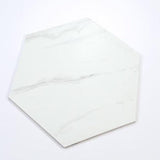 "Large Marble Look White Hexagonal Mosaic Tile (11"" x 13"")"