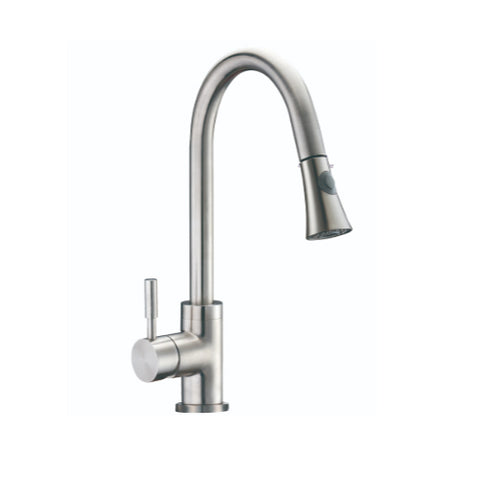 Modern Pull-Down Single Hole Single Handle Kitchen Faucet (Brushed Nickel) A9402