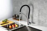 Modern Pull-Down Single Hole Single Handle Kitchen Faucet in Matte Black & Chrome