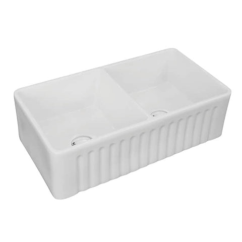 White Ceramic Farmhouse Stainless Steel 33 1/4 in. Double Bowl 50/50 Kitchen Sink