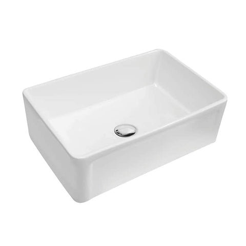 White Ceramic Farmhouse Stainless Steel 30 3/8 in. Single Bowl Kitchen Sink