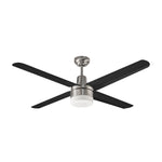 "48"" Brushed Nickel Ceiling Fan w/ Black Metal Blades"