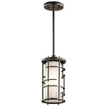 Single Pendant Light (Fabric Shade w/ Matte Black Cage)