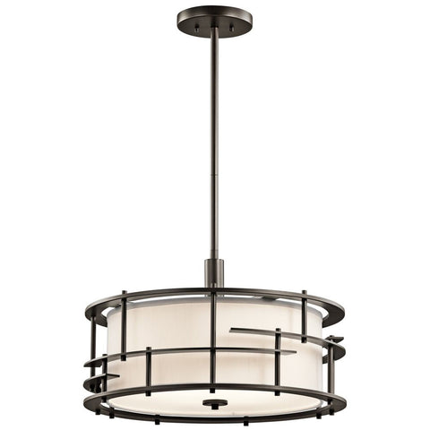 Quadruple Light Drum Pendant Light (Fabric Shade w/ Matte Black Cage)